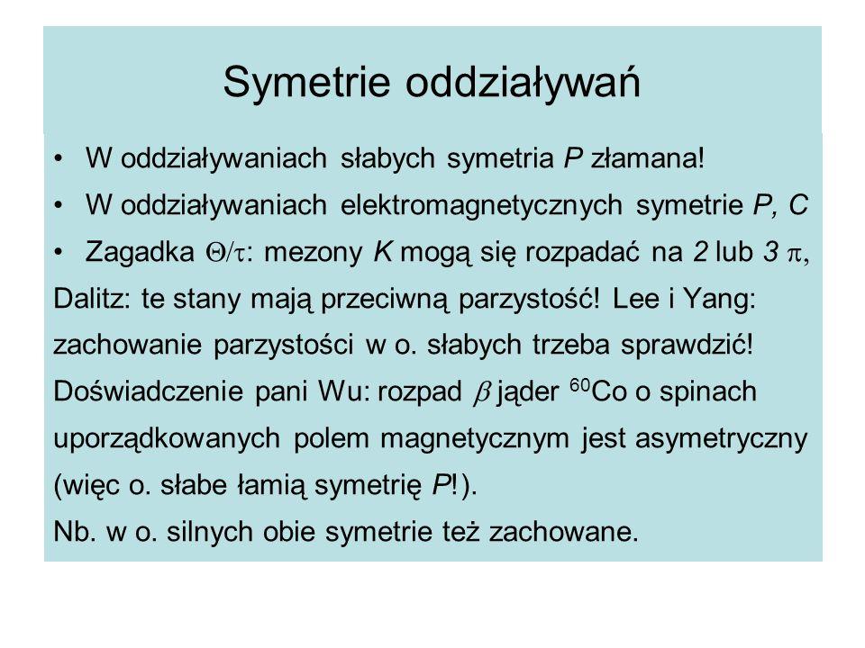 Symetrie oddziaływań W oddziaływaniach słabych symetria P złamana! W oddziaływaniach elektromagnetycznych symetrie P, C Zagadka  : mezony K mogą si