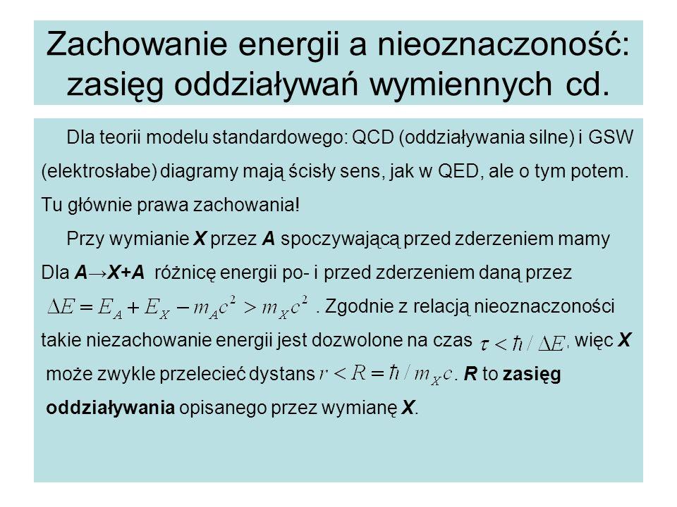 Zachowanie energii a nieoznaczoność: zasięg oddziaływań wymiennych cd. Dla teorii modelu standardowego: QCD (oddziaływania silne) i GSW (elektrosłabe)