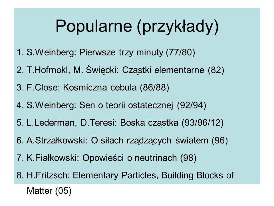 Popularne (przykłady) 1. S.Weinberg: Pierwsze trzy minuty (77/80) 2. T.Hofmokl, M. Święcki: Cząstki elementarne (82) 3. F.Close: Kosmiczna cebula (86/