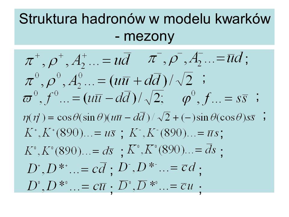 Struktura hadronów w modelu kwarków - mezony ; ; ;