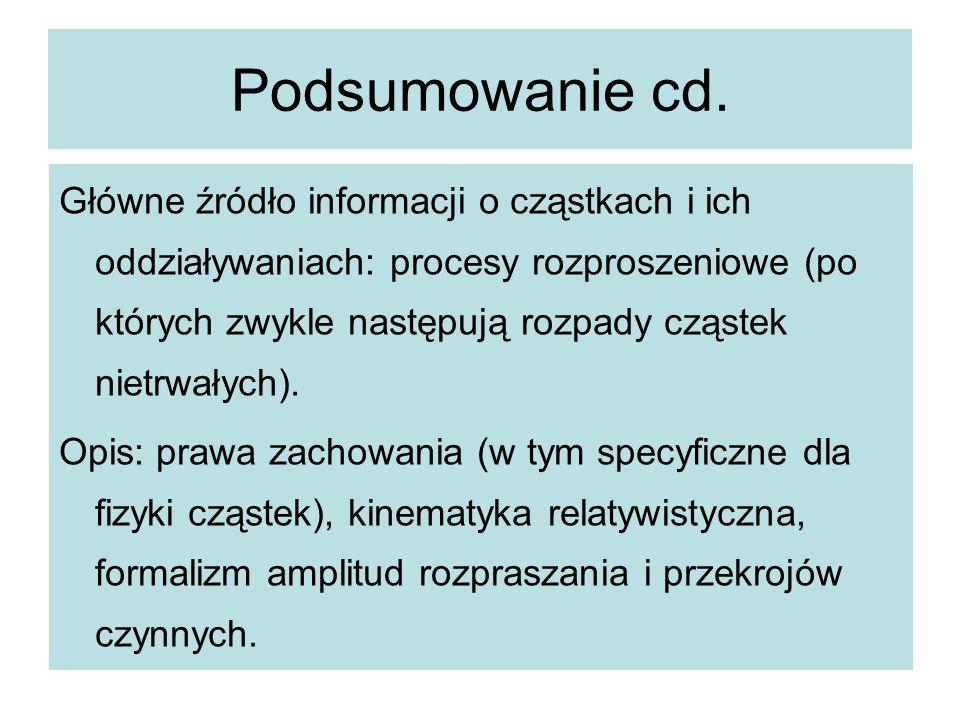 Podsumowanie cd. Główne źródło informacji o cząstkach i ich oddziaływaniach: procesy rozproszeniowe (po których zwykle następują rozpady cząstek nietr