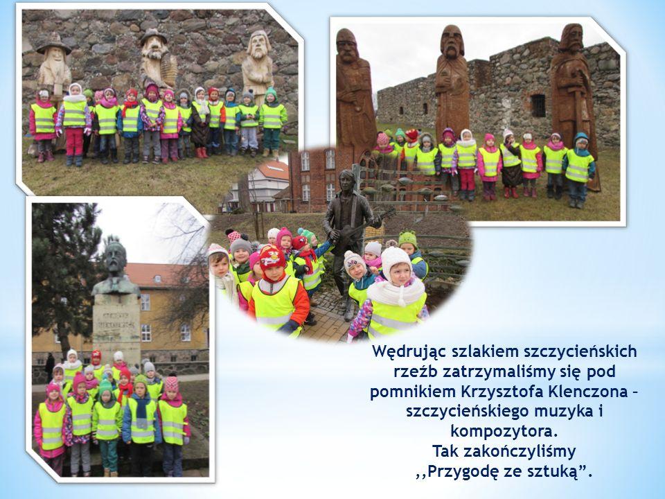 Wędrując szlakiem szczycieńskich rzeźb zatrzymaliśmy się pod pomnikiem Krzysztofa Klenczona – szczycieńskiego muzyka i kompozytora.