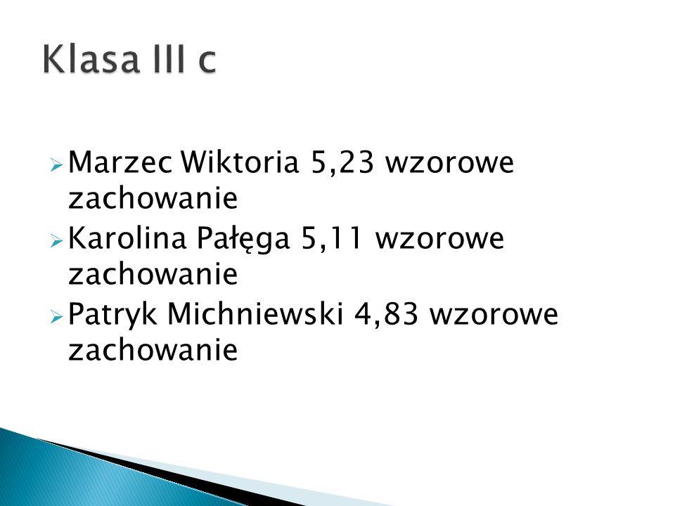  Marzec Wiktoria 5,23 wzorowe zachowanie  Karolina Pałęga 5,11 wzorowe zachowanie  Patryk Michniewski 4,83 wzorowe zachowanie