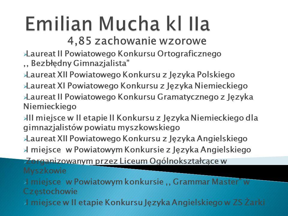 """4,85 zachowanie wzorowe  Laureat II Powiatowego Konkursu Ortograficznego,, Bezbłędny Gimnazjalista""""  Laureat XII Powiatowego Konkursu z Języka Polsk"""