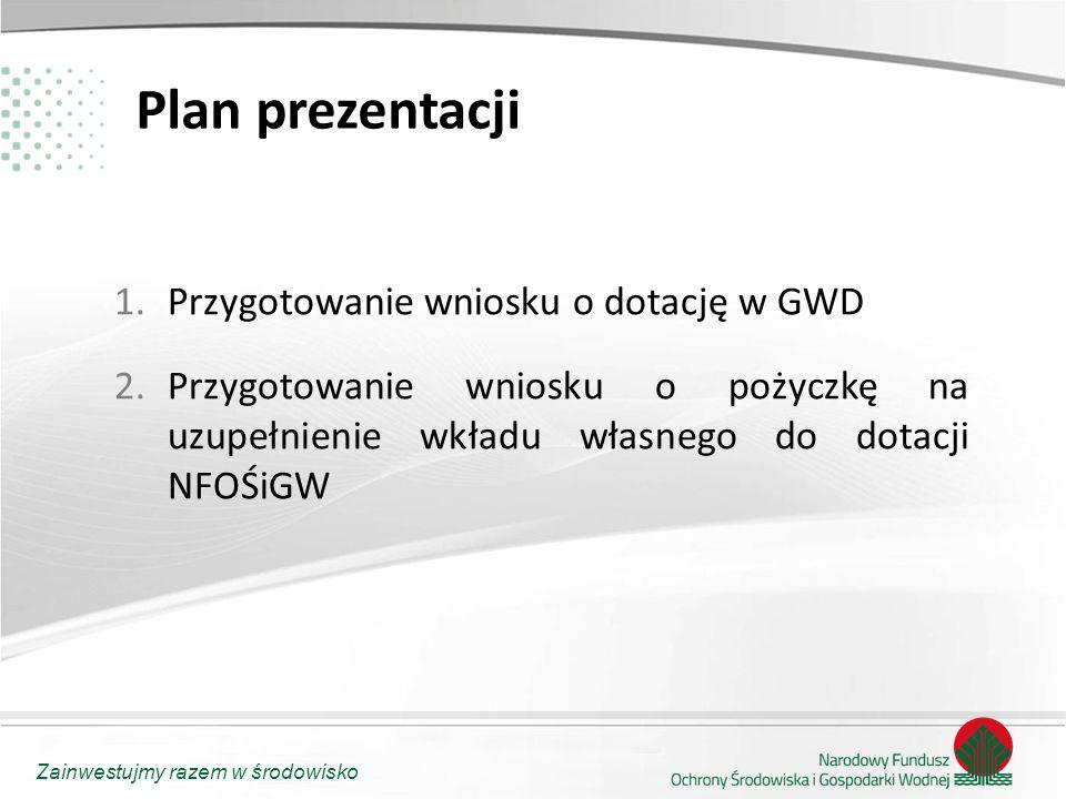 Zainwestujmy razem w środowisko Plan prezentacji 1.Przygotowanie wniosku o dotację w GWD 2.Przygotowanie wniosku o pożyczkę na uzupełnienie wkładu wła