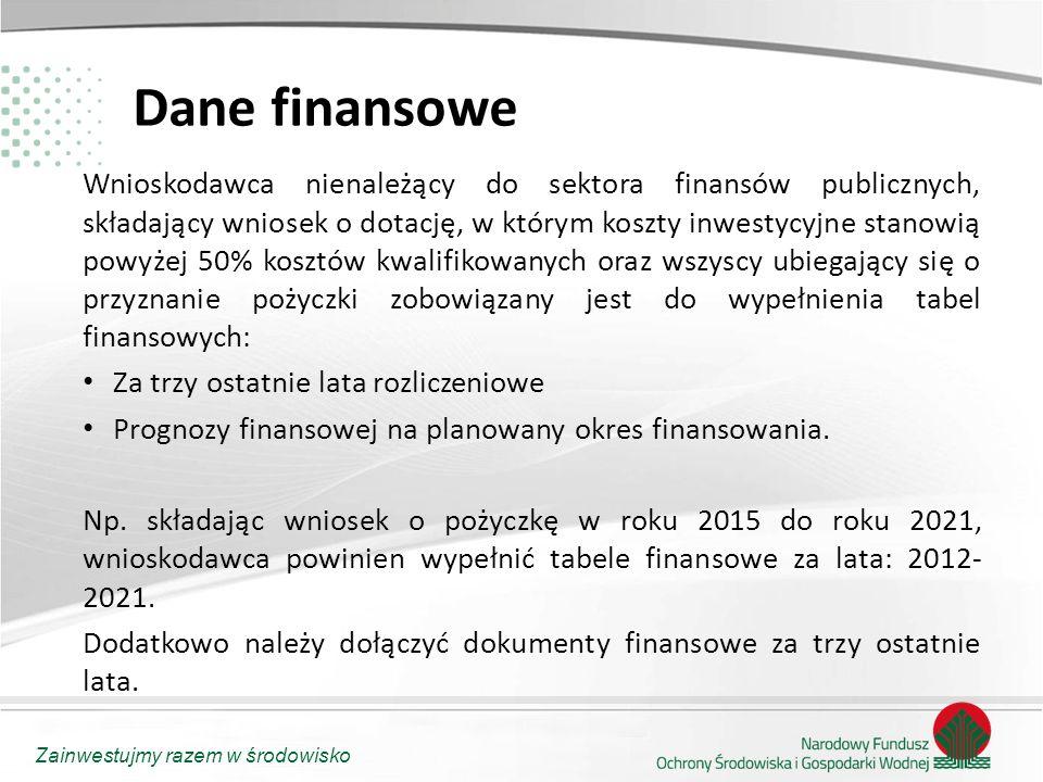 Zainwestujmy razem w środowisko Dane finansowe Wnioskodawca nienależący do sektora finansów publicznych, składający wniosek o dotację, w którym koszty