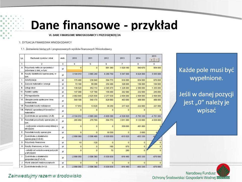 """Zainwestujmy razem w środowisko Dane finansowe - przykład Każde pole musi być wypełnione. Jeśli w danej pozycji jest """"0"""" należy je wpisać"""