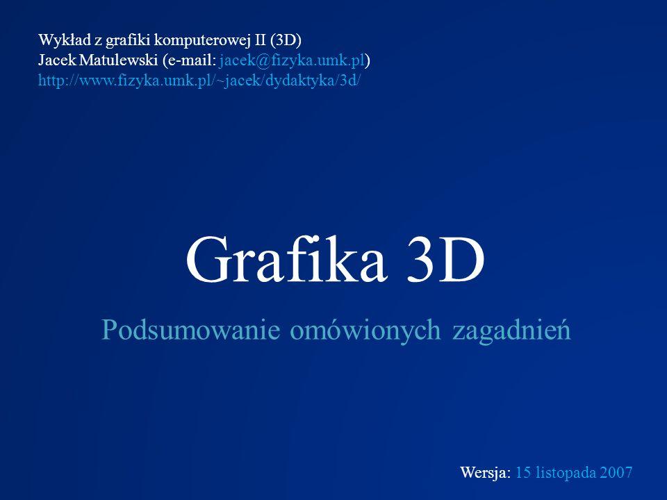 Grafika 3D Podsumowanie omówionych zagadnień Wykład z grafiki komputerowej II (3D) Jacek Matulewski (e-mail: jacek@fizyka.umk.pl) http://www.fizyka.um