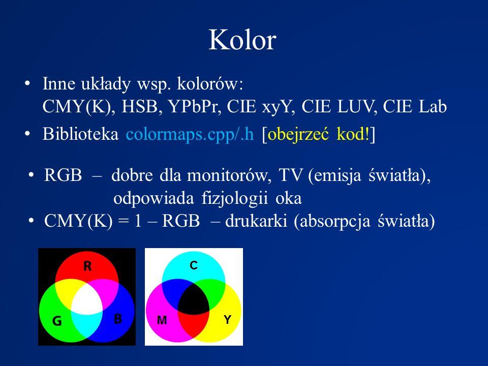 Kolor Inne układy wsp. kolorów: CMY(K), HSB, YPbPr, CIE xyY, CIE LUV, CIE Lab Biblioteka colormaps.cpp/.h [obejrzeć kod!] RGB – dobre dla monitorów, T