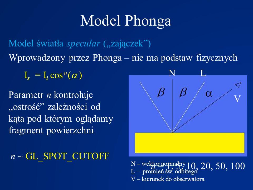 """Model Phonga Model światła specular (""""zajączek"""") Wprowadzony przez Phonga – nie ma podstaw fizycznych I s = I i cos n (   ) Parametr n kontroluje """"o"""