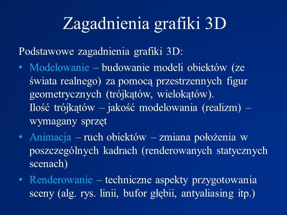 Zagadnienia grafiki 3D Podstawowe zagadnienia grafiki 3D: Modelowanie – budowanie modeli obiektów (ze świata realnego) za pomocą przestrzennych figur