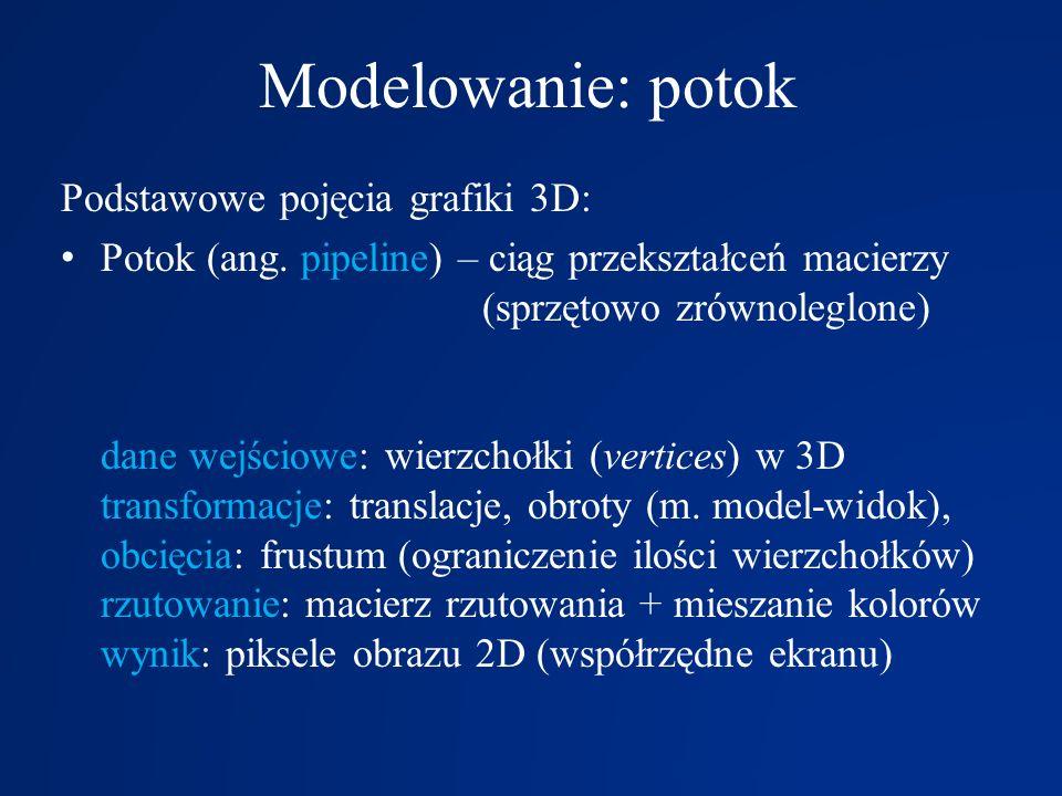Modelowanie: potok Podstawowe pojęcia grafiki 3D: Potok (ang. pipeline) – ciąg przekształceń macierzy (sprzętowo zrównoleglone) dane wejściowe: wierzc