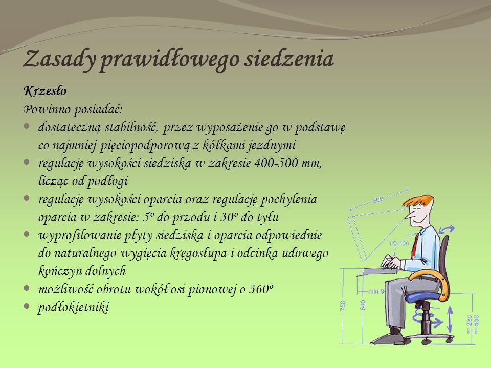 Zasady prawidłowego siedzenia Krzesło Powinno posiadać: dostateczną stabilność, przez wyposażenie go w podstawę co najmniej pięciopodporową z kółkami