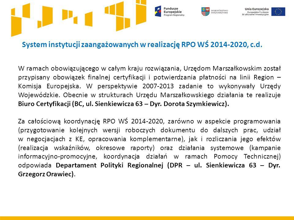 System instytucji zaangażowanych w realizację RPO WŚ 2014-2020, c.d. W ramach obowiązującego w całym kraju rozwiązania, Urzędom Marszałkowskim został