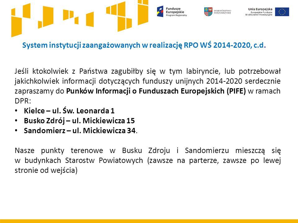 System instytucji zaangażowanych w realizację RPO WŚ 2014-2020, c.d.