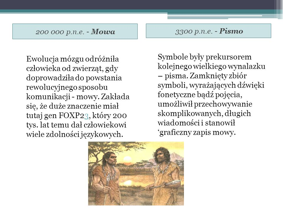 200 000 p.n.e. - Mowa 3300 p.n.e. - Pismo Ewolucja mózgu odróżniła człowieka od zwierząt, gdy doprowadziła do powstania rewolucyjnego sposobu komunika