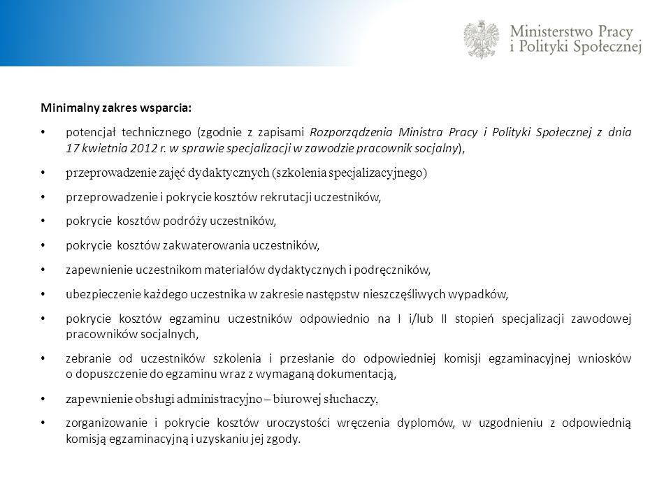 Minimalny zakres wsparcia: potencjał technicznego (zgodnie z zapisami Rozporządzenia Ministra Pracy i Polityki Społecznej z dnia 17 kwietnia 2012 r. w