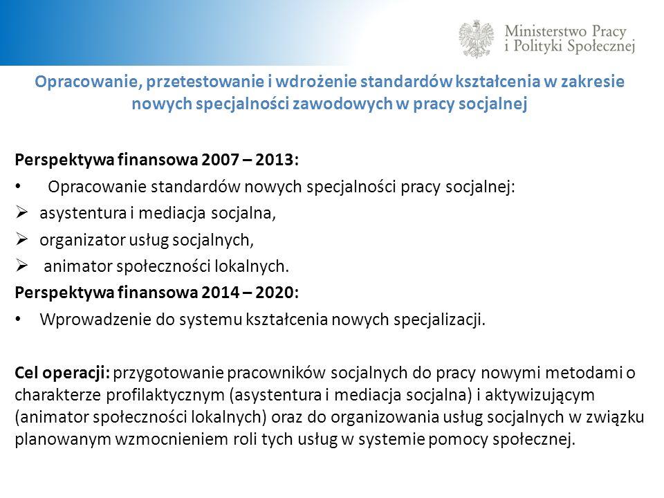Opracowanie, przetestowanie i wdrożenie standardów kształcenia w zakresie nowych specjalności zawodowych w pracy socjalnej Perspektywa finansowa 2007