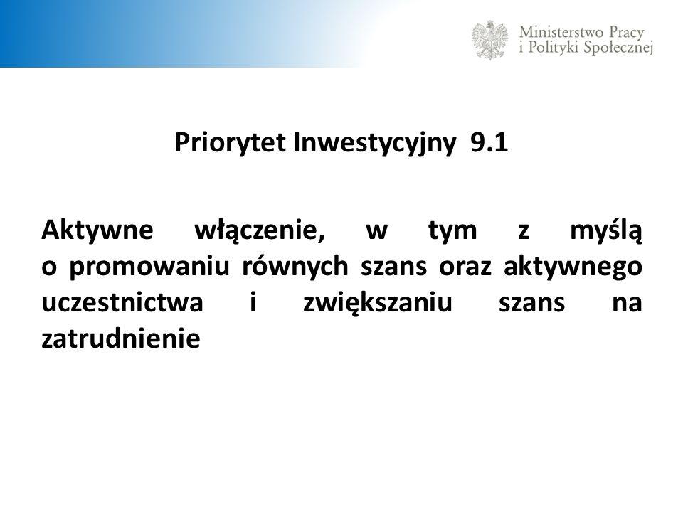 Priorytet Inwestycyjny 9.1 Aktywne włączenie, w tym z myślą o promowaniu równych szans oraz aktywnego uczestnictwa i zwiększaniu szans na zatrudnienie