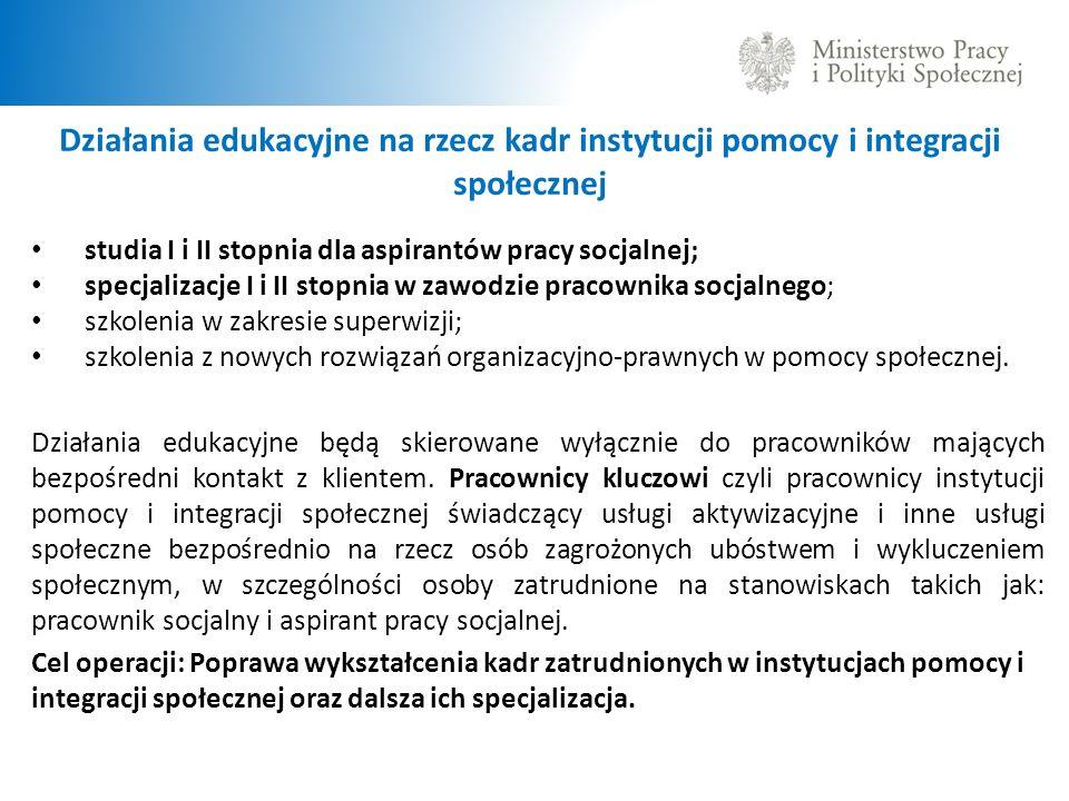Działania edukacyjne na rzecz kadr instytucji pomocy i integracji społecznej studia I i II stopnia dla aspirantów pracy socjalnej; specjalizacje I i I