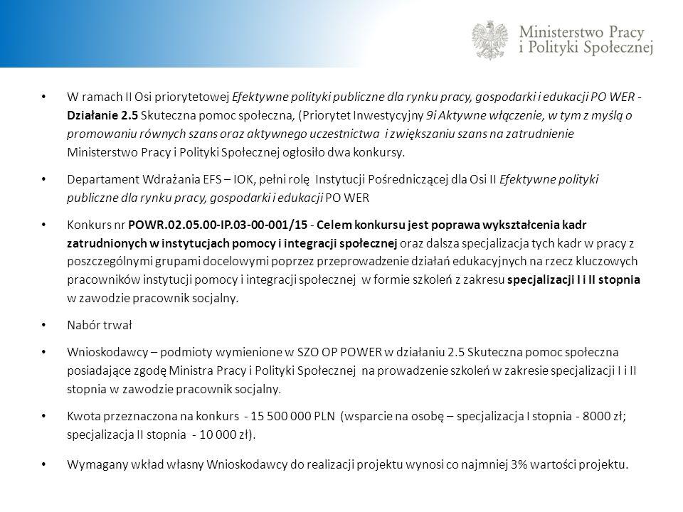 W ramach II Osi priorytetowej Efektywne polityki publiczne dla rynku pracy, gospodarki i edukacji PO WER - Działanie 2.5 Skuteczna pomoc społeczna, (P