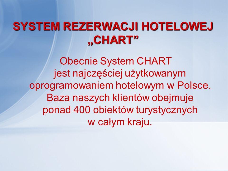 """SYSTEM REZERWACJI HOTELOWEJ """"CHART"""" Obecnie System CHART jest najczęściej użytkowanym oprogramowaniem hotelowym w Polsce. Baza naszych klientów obejmu"""