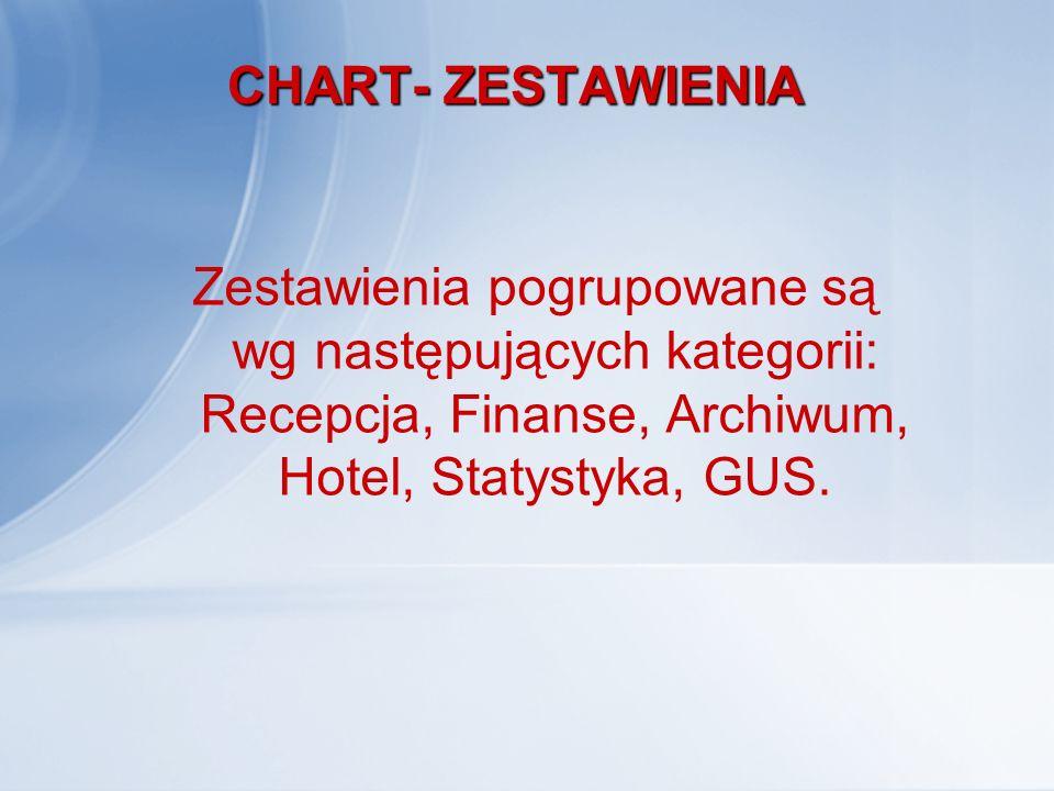 CHART- ZESTAWIENIA Zestawienia pogrupowane są wg następujących kategorii: Recepcja, Finanse, Archiwum, Hotel, Statystyka, GUS.