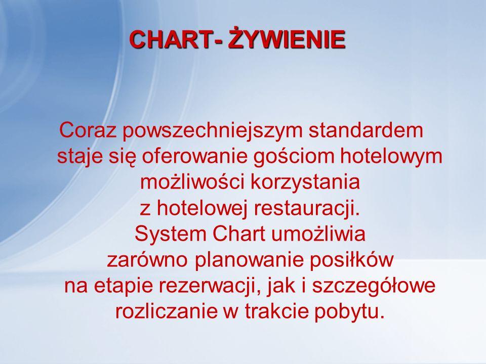 CHART- ŻYWIENIE Coraz powszechniejszym standardem staje się oferowanie gościom hotelowym możliwości korzystania z hotelowej restauracji. System Chart