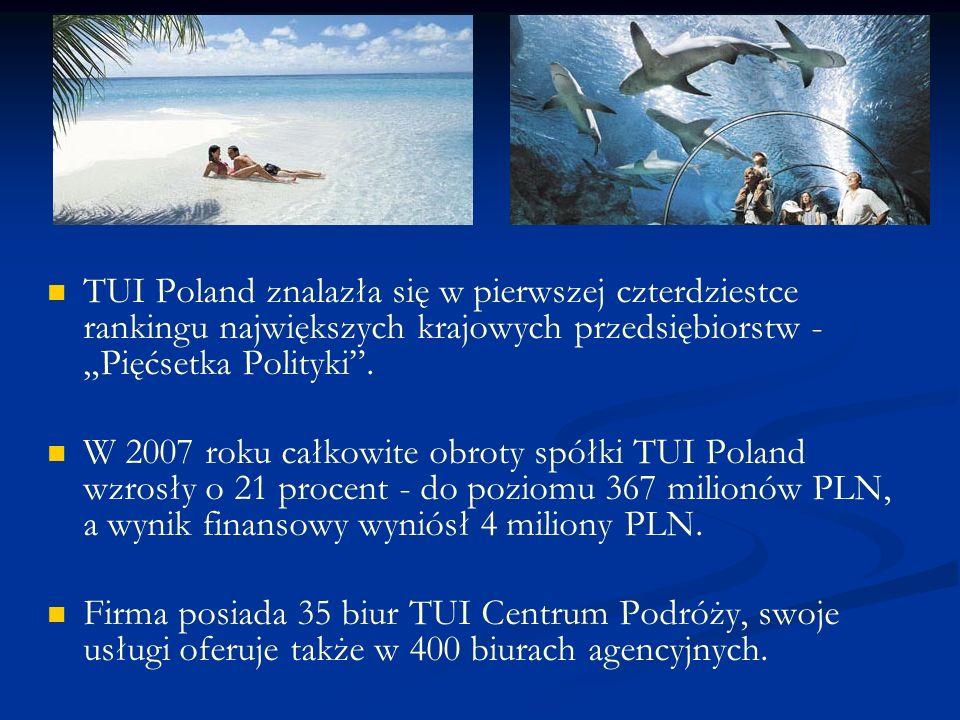 """TUI Poland znalazła się w pierwszej czterdziestce rankingu największych krajowych przedsiębiorstw - """"Pięćsetka Polityki ."""