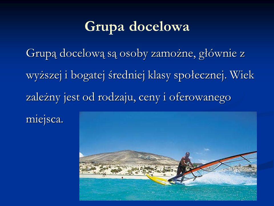 Grupa docelowa Grupą docelową są osoby zamożne, głównie z wyższej i bogatej średniej klasy społecznej.