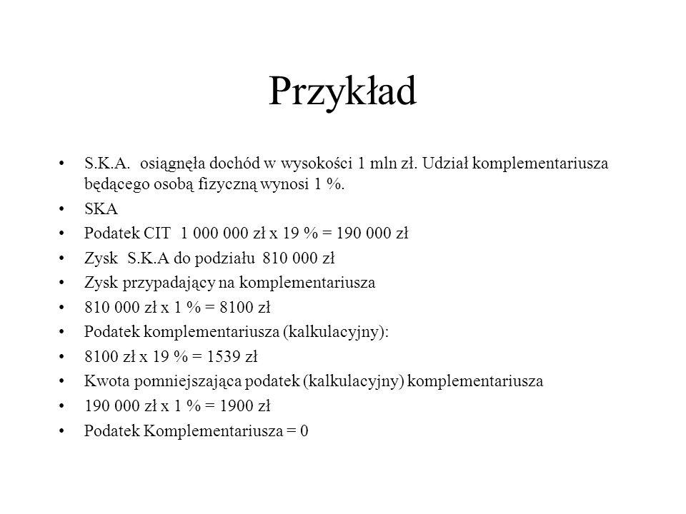 Przykład S.K.A. osiągnęła dochód w wysokości 1 mln zł. Udział komplementariusza będącego osobą fizyczną wynosi 1 %. SKA Podatek CIT 1 000 000 zł x 19