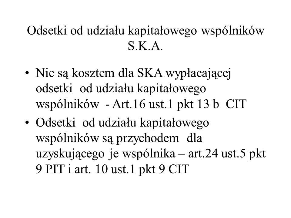 Odsetki od udziału kapitałowego wspólników S.K.A. Nie są kosztem dla SKA wypłacającej odsetki od udziału kapitałowego wspólników - Art.16 ust.1 pkt 13