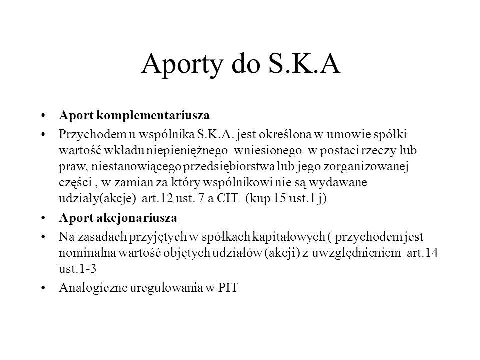 Aporty do S.K.A Aport komplementariusza Przychodem u wspólnika S.K.A. jest określona w umowie spółki wartość wkładu niepieniężnego wniesionego w posta