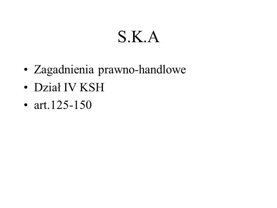 S.K.A Zagadnienia prawno-handlowe Dział IV KSH art.125-150