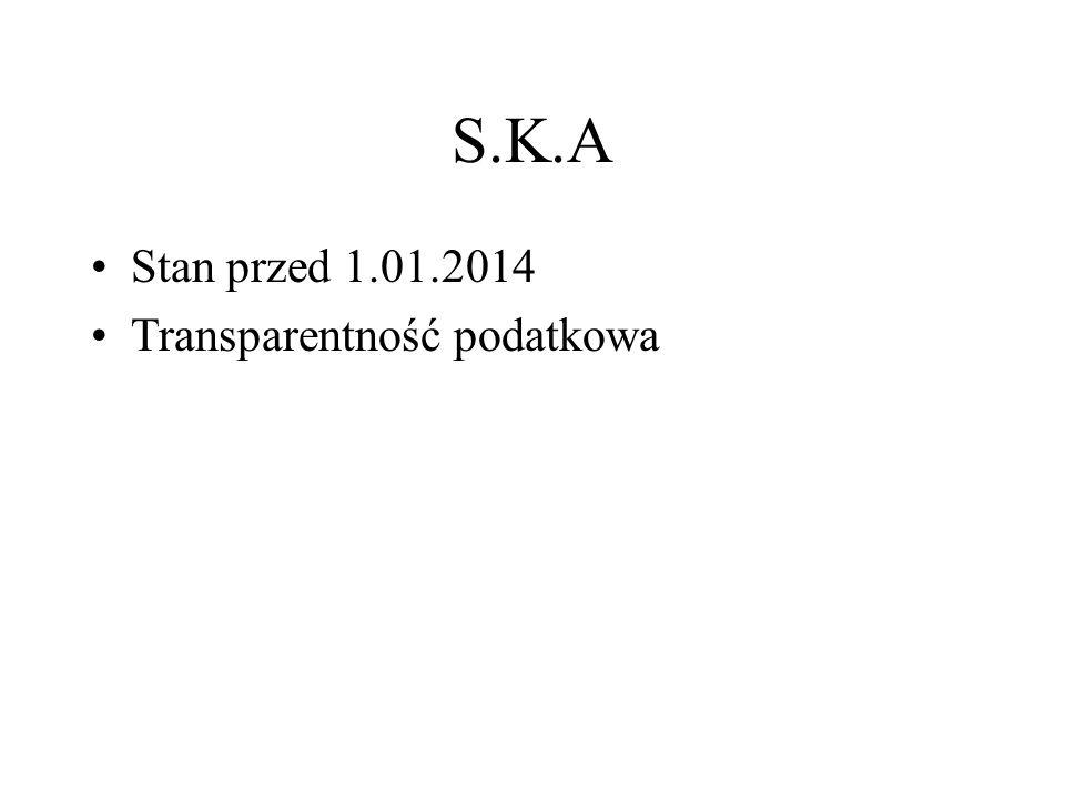 S.K.A Założenia : Dochód SKA : 1 000 000 zł Prawo do udziału w zysku : Komplementariusz : 1 % (spółka z o.o) Akcjonariusz : 99 % (spółka z o.o.) Brak podjętej uchwały o podziale zysku Przed 2014 r.