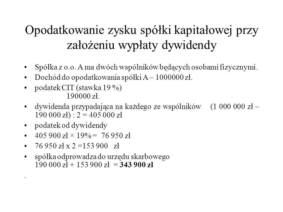 Opodatkowanie zysku S.K.A.przed 2014 r. przy założeniu wypłaty dywidendy S.K.A.