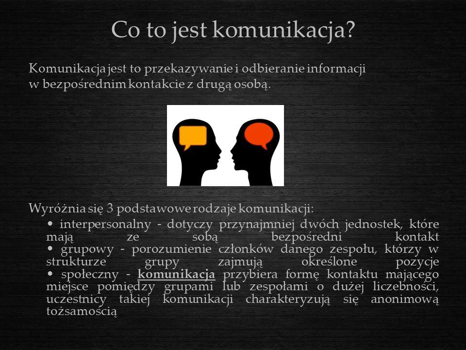 Co to jest komunikacja? Komunikacja jest to przekazywanie i odbieranie informacji w bezpośrednim kontakcie z drugą osobą. Wyróżnia się 3 podstawowe ro