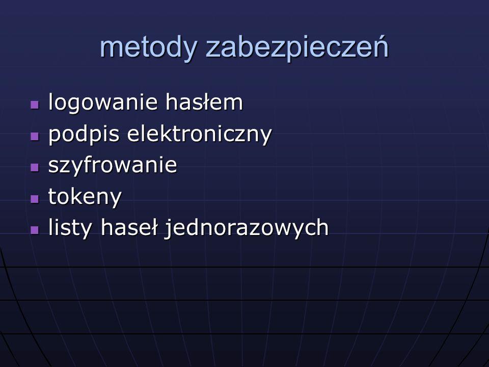 metody zabezpieczeń logowanie hasłem logowanie hasłem podpis elektroniczny podpis elektroniczny szyfrowanie szyfrowanie tokeny tokeny listy haseł jednorazowych listy haseł jednorazowych