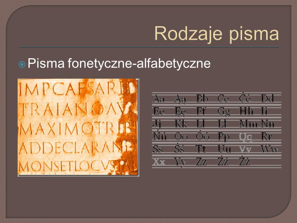 Rodzaje pisma  Pisma fonetyczne-alfabetyczne