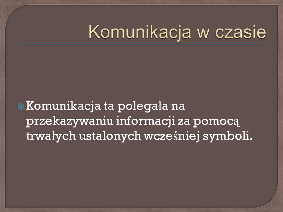  Komunikacja ta polega ł a na przekazywaniu informacji za pomoc ą trwa ł ych ustalonych wcze ś niej symboli.
