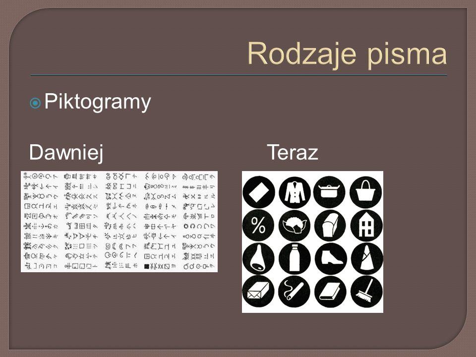 Rodzaje pisma  Piktogramy DawniejTeraz