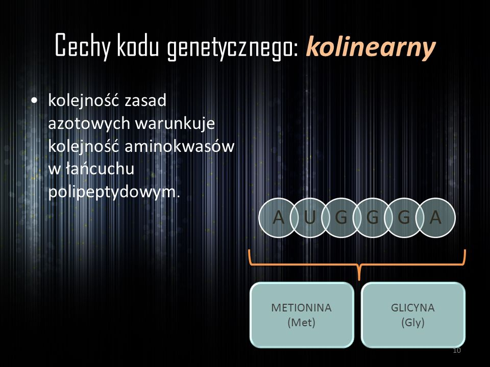 Cechy kodu genetycznego: kolinearny kolejność zasad azotowych warunkuje kolejność aminokwasów w łańcuchu polipeptydowym. METIONINA (Met) GLICYNA (Gly)