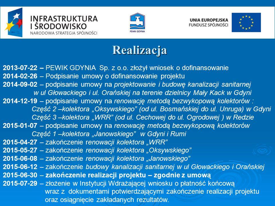 Realizacja 2013-07-22 – PEWIK GDYNIA Sp. z o.o. złożył wniosek o dofinansowanie 2014-02-26 – Podpisanie umowy o dofinansowanie projektu 2014-09-02 – p