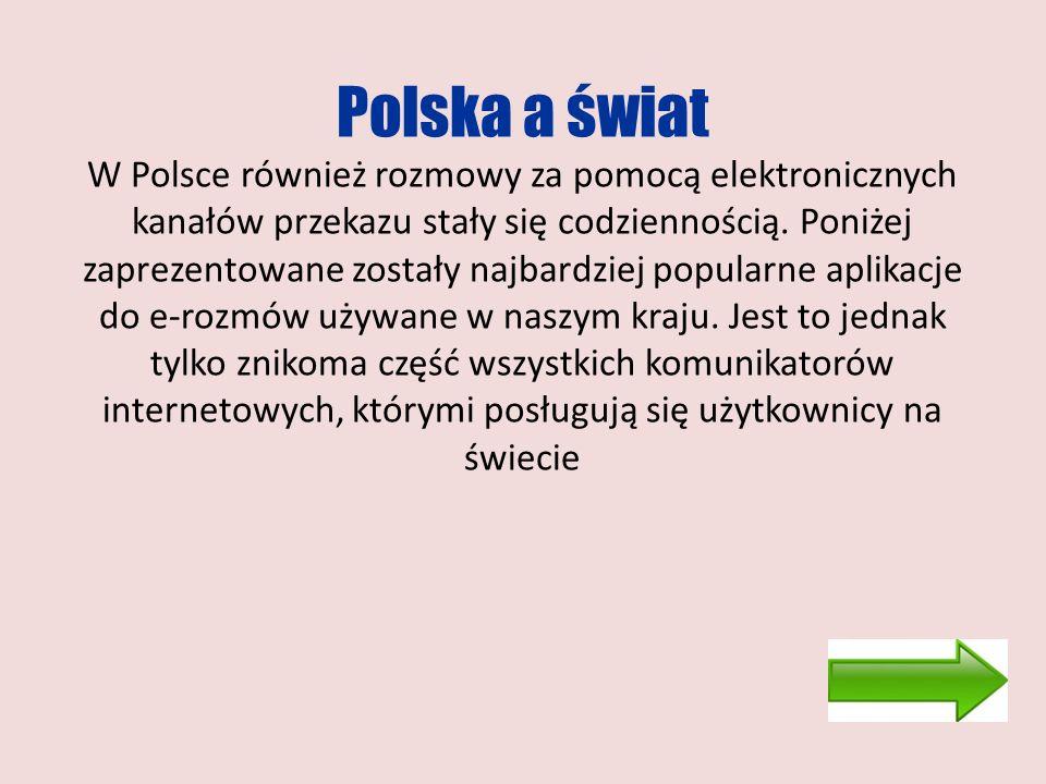 Polska a świat W Polsce również rozmowy za pomocą elektronicznych kanałów przekazu stały się codziennością. Poniżej zaprezentowane zostały najbardziej