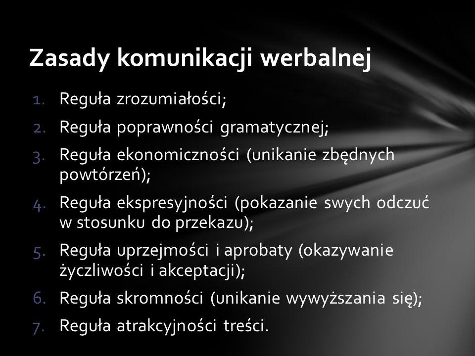 1.Reguła zrozumiałości; 2.Reguła poprawności gramatycznej; 3.Reguła ekonomiczności (unikanie zbędnych powtórzeń); 4.Reguła ekspresyjności (pokazanie swych odczuć w stosunku do przekazu); 5.Reguła uprzejmości i aprobaty (okazywanie życzliwości i akceptacji); 6.Reguła skromności (unikanie wywyższania się); 7.Reguła atrakcyjności treści.