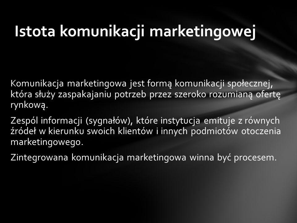 Komunikacja marketingowa jest formą komunikacji społecznej, która służy zaspakajaniu potrzeb przez szeroko rozumianą ofertę rynkową.