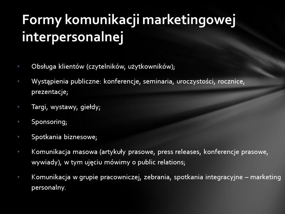 Obsługa klientów (czytelników, użytkowników); Wystąpienia publiczne: konferencje, seminaria, uroczystości, rocznice, prezentacje; Targi, wystawy, giełdy; Sponsoring; Spotkania biznesowe; Komunikacja masowa (artykuły prasowe, press releases, konferencje prasowe, wywiady), w tym ujęciu mówimy o public relations; Komunikacja w grupie pracowniczej, zebrania, spotkania integracyjne – marketing personalny.