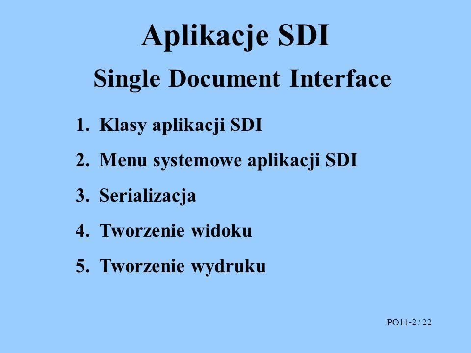 Aplikacje SDI Single Document Interface 1.Klasy aplikacji SDI 2.Menu systemowe aplikacji SDI 3.Serializacja 4.Tworzenie widoku 5.Tworzenie wydruku PO1