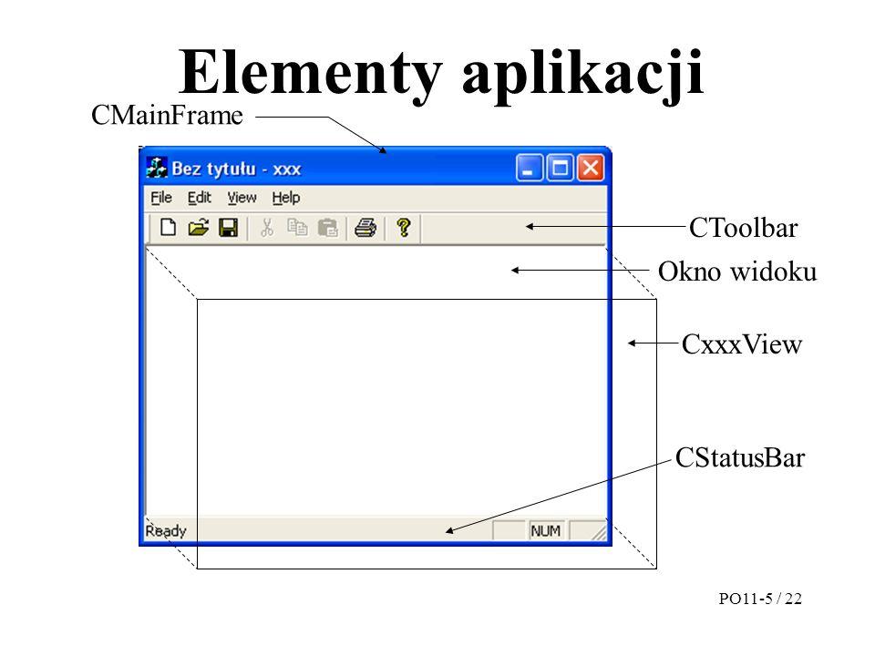 Elementy aplikacji CMainFrame CxxxView CStatusBar CToolbar Okno widoku PO11-5 / 22