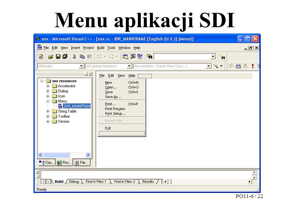 Menu aplikacji SDI PO11-6 / 22